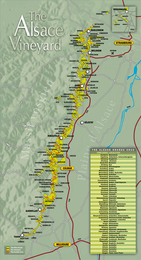 Wine map of Alsace
