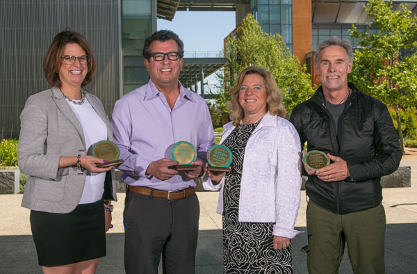 (L-r) Cindy DeVries for Fetzer Vineyards, Bob Torres for Trinchero Family Estates, Julie Nord for Nord Vineyards and Mike Benziger for Benziger Family Winery.