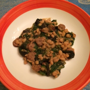 White beans, Merguez sausage and mustard greens (among other ingredients)
